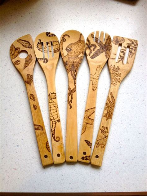 custom sea themed wood burned spoons  shipping ocean