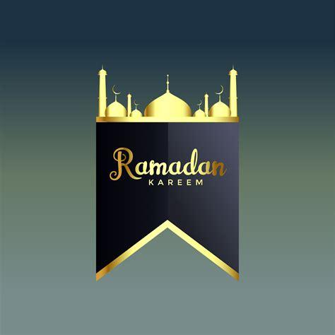shiny golden ramadan kareem mosque silhouette