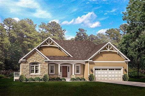 Craftsman House Plans One Story by Exclusive One Story Craftsman House Plan With Two Master