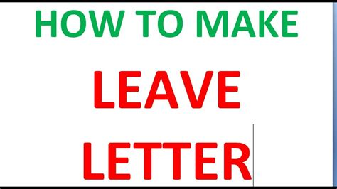 leave letter  principal youtube