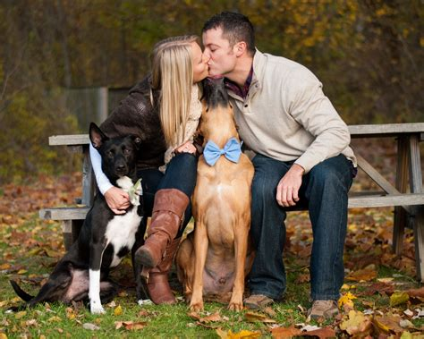 Engagement Picture With Dogs Wedding Engagement Photos
