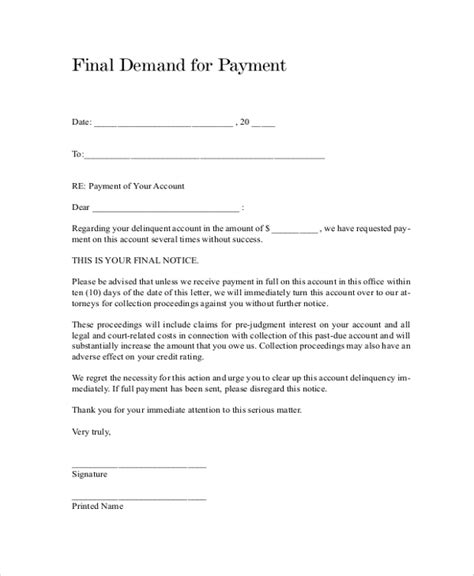 sample final notice letter  documents   word