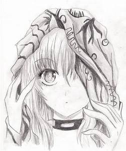 Anime girl pencil sketch! She usually has red eyes and red ...