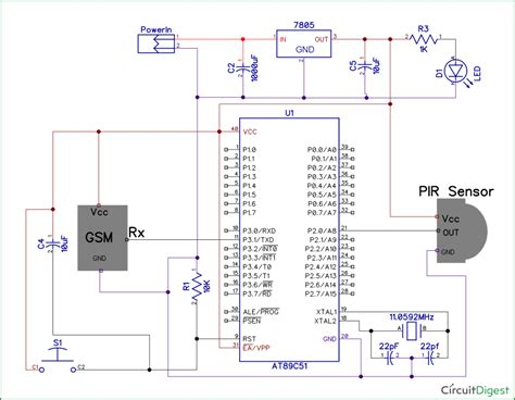 automatic room light control upon human presence pir sensor and gsm based home security system using 8051