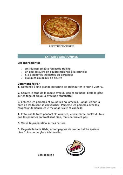 fiche recette de cuisine recette de cuisine fiche d 39 exercices fiches pédagogiques