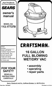 Craftsman 113177370 User Manual 16 Gallon Wet  Dry Vac