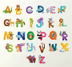 alphabet wall sticker 70cm learn letters kids room decal With the best of letter decals for walls