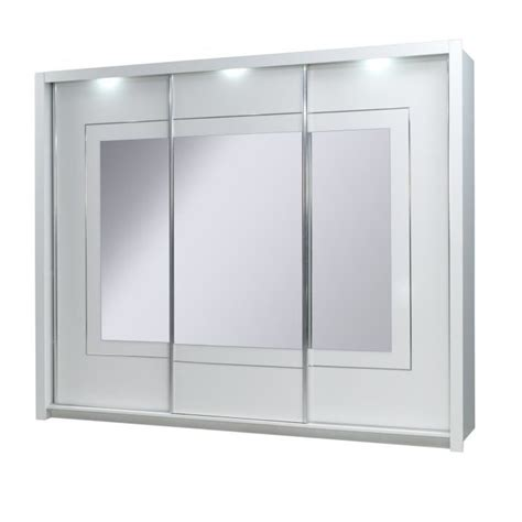 armoire porte coulissante miroir armoire 3 portes coulissantes panarea miroirs led achat vente armoire de chambre armoire 3