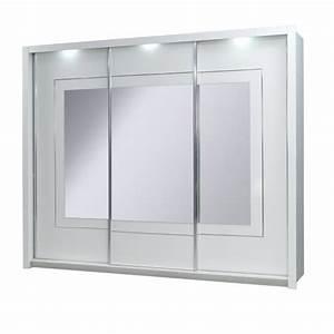 armoire 3 portes coulissantes panarea miroirs led achat With porte de douche coulissante avec armoire de toilette de salle de bain