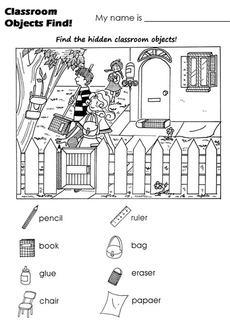objects and classroom on