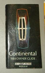 1984 Lincoln Continental Owners Guide Manual