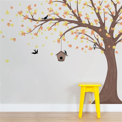 printed windy tree  birdhouse wall decal