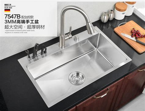 kitchen 304 manual sink single trough stainless single