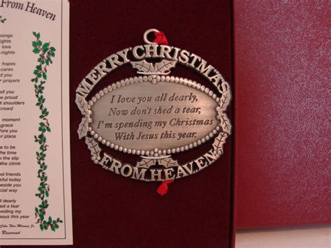 merry christmas from heaven pewter ornament keepsake of