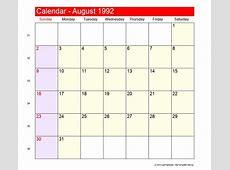 August 1992 Roman Catholic Saints Calendar