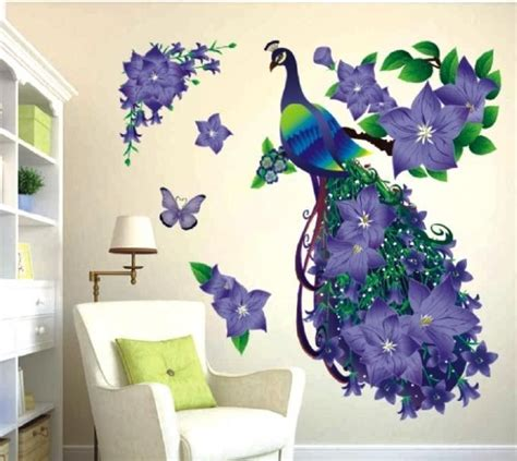 removable  purple peacock flower wall stickers imitation