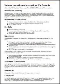 professional consultant cv exles trainee recruitment consultant cv sle myperfectcv