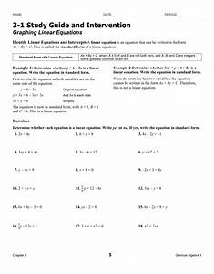3 1 Study Guide And Intervention Graphing Linear Equations
