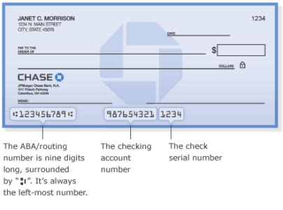 Chaise Number by Bank Routing Number And Wiring