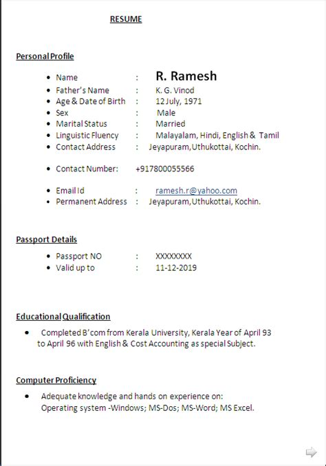 sle of cv a commerce graduate 20 years rich experiance as branch in charge resume
