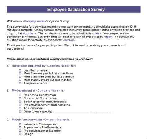 sample employee satisfaction survey templates