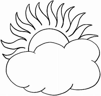 Sun Coloring Cloud Half Clouds Clipart Drawings