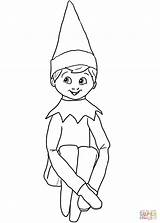 Coloring Elf Shelf Pages Christmas Printable Drawing Paper sketch template