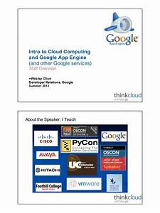 Intro To Cloud Computing  U0026 Google App Engine