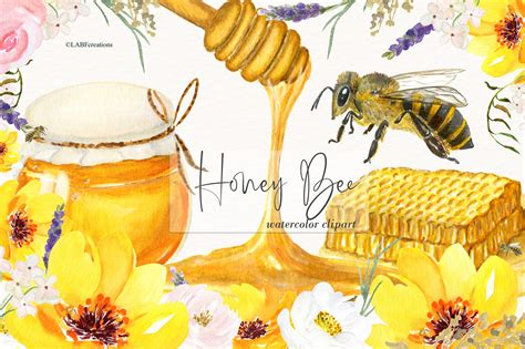 honey bee watercolor images custom designed
