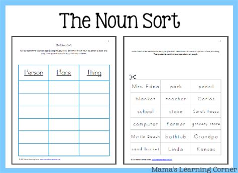 The Noun Sort  Mamas Learning Corner
