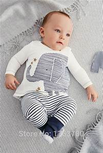 2015 new newborn baby clothing baby boy clothes cute elephant long sleeved T shirt + striped ...
