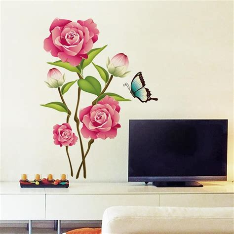 home decor wall stickers pink flower decal magnolia diy wall sticker