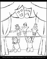 Coloring Puppet Purim Theatre Drawing Stage Theater Sketch Getdrawings 24k Template sketch template
