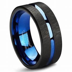 Queenwish Blue Black Tungsten Carbide Wedding Band 8mm
