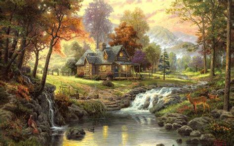 fallout thomas kinkade paintings nature landscapes trees