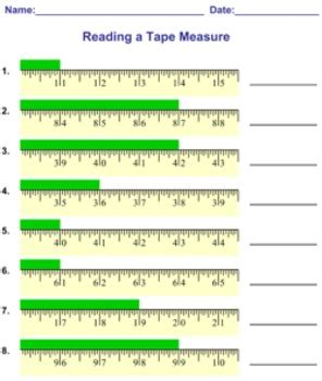 reading measuring a tape measure worksheets by mathnook tpt