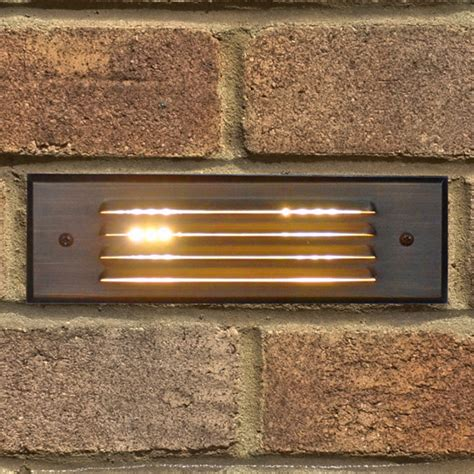 12v brass recessed brick light with louvered plate