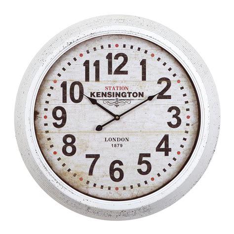 yosemite home decor 24 in circular iron wall clock in distressed white frame clka1a100ne the