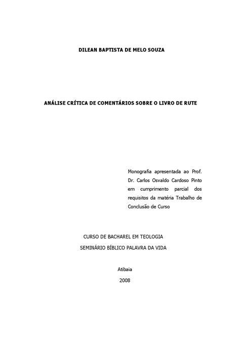 Análise Crítica de Comentários sobre o livro de Rute by