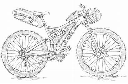 Bikepacking Bike Suspension Mountain Biking Sketch Multi