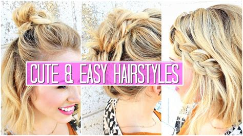 3 Easy Hairstyles For Short Medium Hair Tutorial Cute