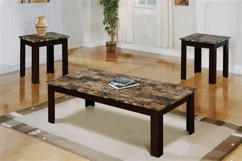 fake marble table tops faux marble top modern 3pc coffee table set w brown wood base