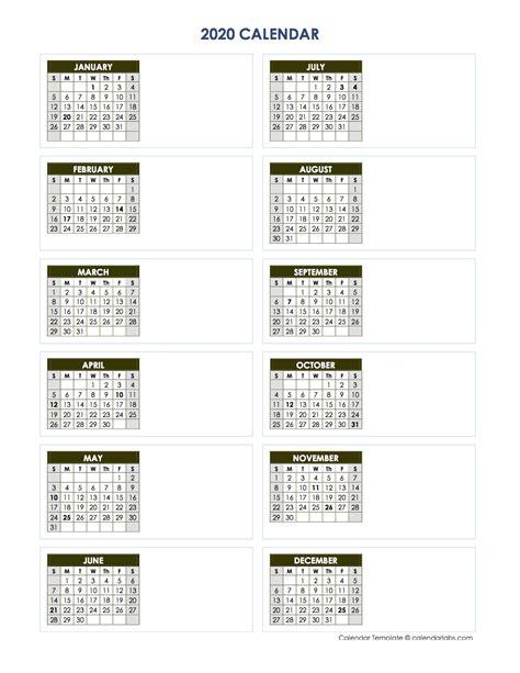 blank yearly calendar vertical template