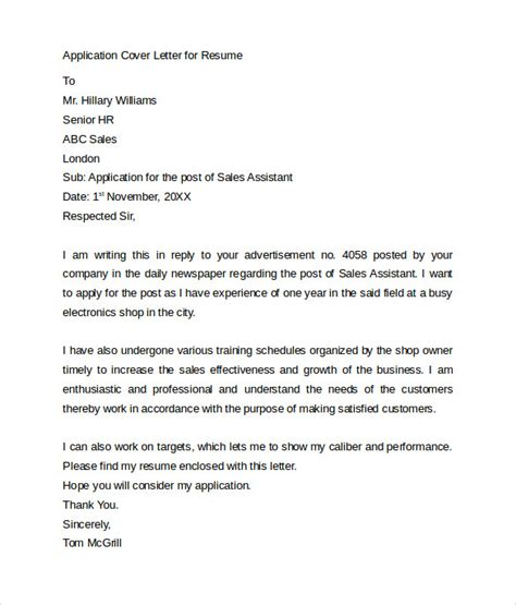 Cover Letter For Resume Application by Application Cover Letter 10 Free Sles Exles Format