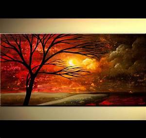 ORIGINAL Large Abstract Red Tree Painting Red Sunset ...