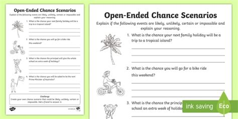 year 2 open ended chance scenarios worksheet activity sheet