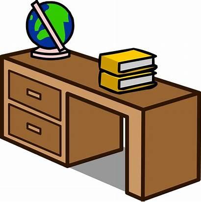 Desk Clipart Transparent Teachers Cartoon Student Drawer