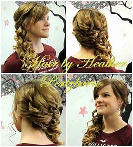 Prom Hair Updo Side Curls Braids Bangs | Nails and hair ...