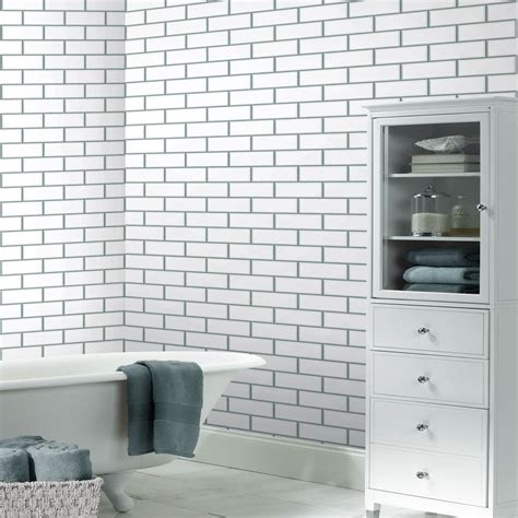 vinyl wallpaper bathroom nz subway tile look wallpaper wallpapersafari