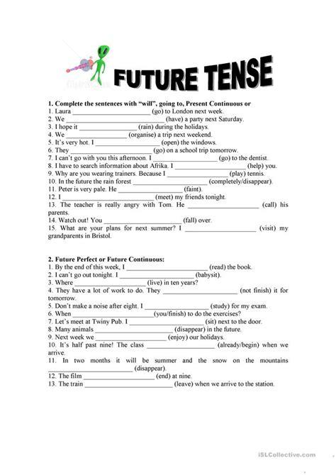 future tense exercises worksheet free esl printable